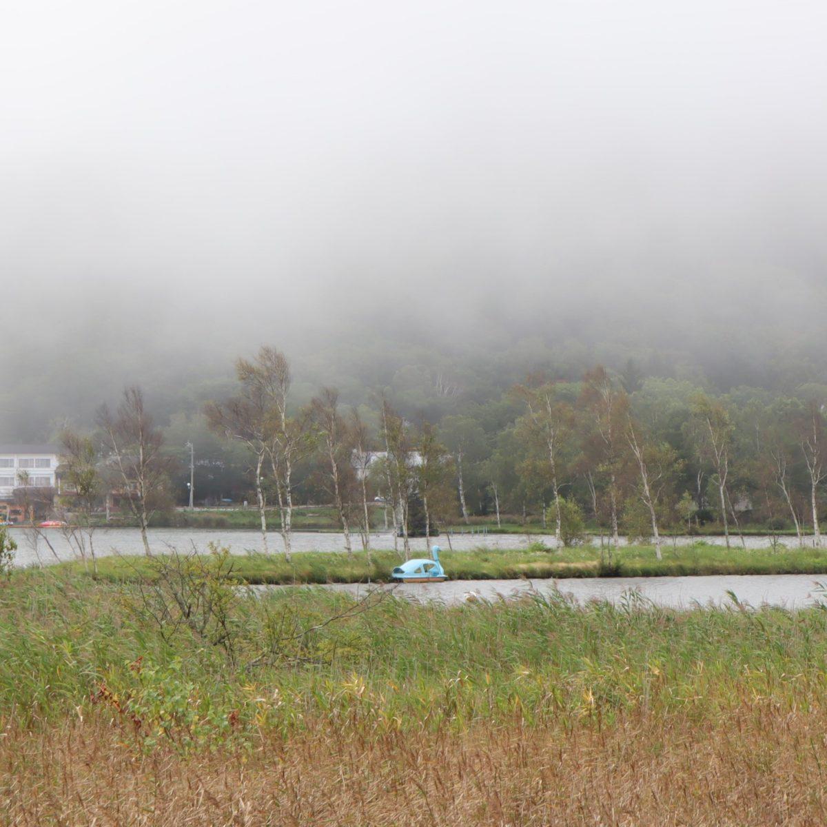 白樺湖と白鳥ボート(水色)